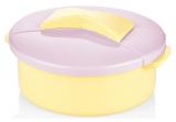 Салатник Bager пластиковий 1500мл, жовтий з бузковою кришкою