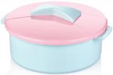 Салатник Bager пластиковий 2750мл, блакитний з рожевою кришкою