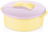 Салатник Bager пластиковий 2750мл, жовтий з бузковою кришкою