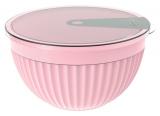 Салатник з кришкою Bager пластиковий 2000мл, рожевий