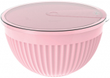 Салатник з кришкою Bager пластиковий 4000мл, рожевий