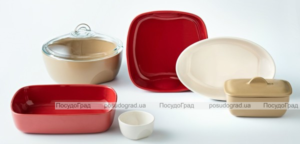 Форма для выпечки керамическая Pyrex Curves 28х20см, красная