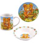 "Набор для завтрака Wellberg ""Медвежонок"" Тарелка, пиала, кружка"