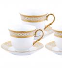Чайный сервиз Va Bene Gold-090: 6 чашек 220мл и 6 блюдец