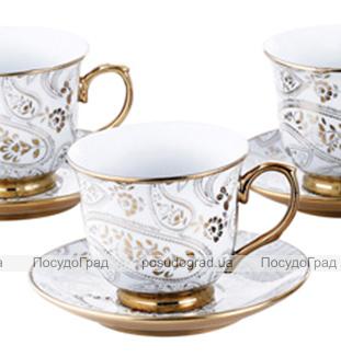 Чайный сервиз Va Bene Gold-180: 6 чашек 220мл и 6 блюдец