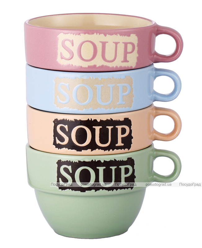 Набор пиал VaBene Savvy 4 керамические миски для супа 525мл