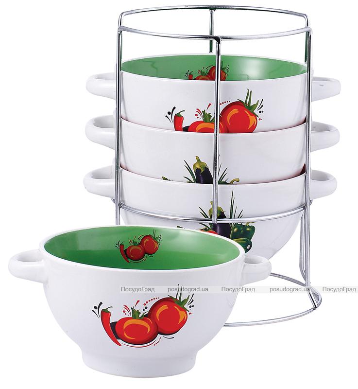 Набор пиал-бульонниц Breezy Овощи 4 штуки на подставке