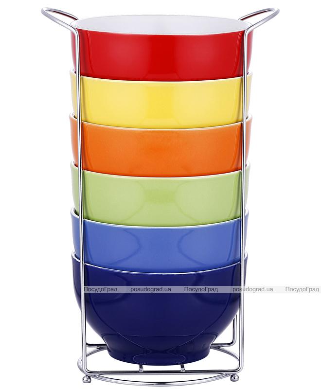 Набор пиал VaBene Colore 6 керамических пиал 680мл на подставке
