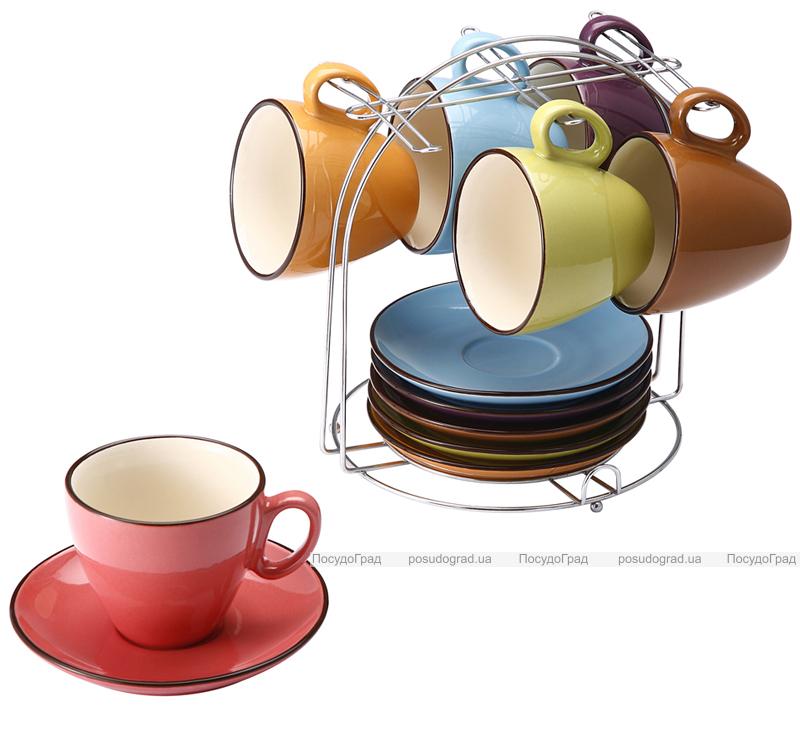 Чайный набор VaBene Colore 220мл 13 предметов на подставке