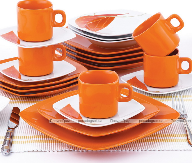 """Столовый сервиз VaBene """"Оранжевый лепесток"""" 30 предметов на 6 персон"""