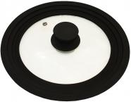 Кришка універсальна Vitrinor Spain Black 24/26/28см скляна з силіконовим обідком
