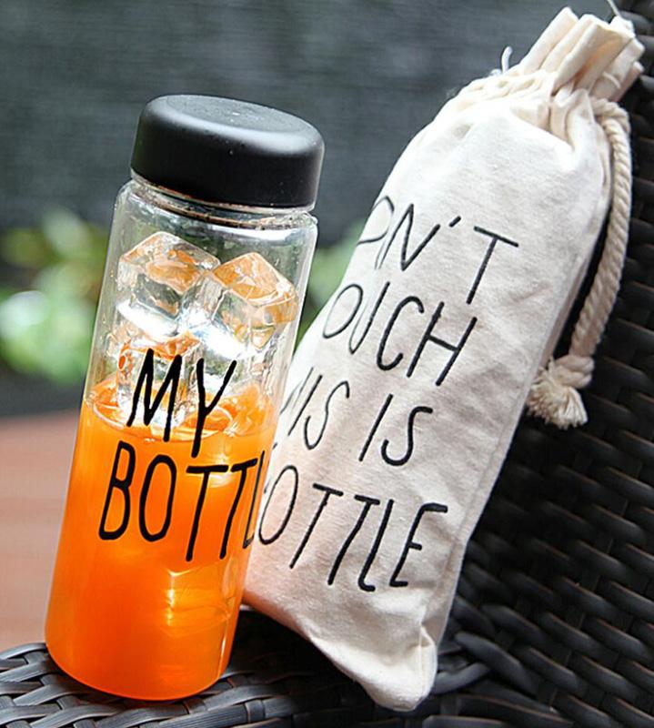 Бутылка My Bottle 500мл, черная + льняной чехол