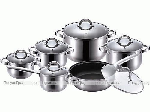 Набор кухонной посуды Wellberg Big Cook 12 предметов, сковорода с антипригарным покрытием