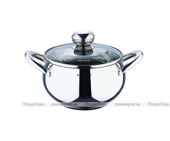 Кастрюля Wellberg Apple Pot 2,1л зеркальные ручки