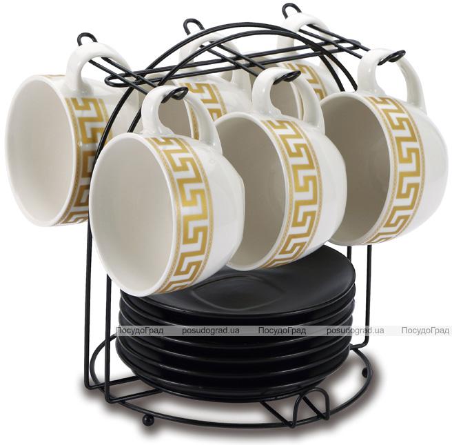 Чайный набор Wellberg Vertigo 220мл 12 предметов на подставке