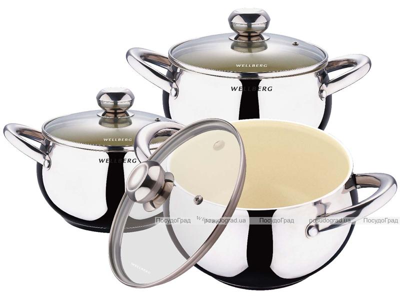 Набор кастрюль Wellberg Apple Pot Ceramic 3 кастрюли с керамическим антипригарным покрытием