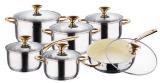 Набор кухонной посуды Wellberg Prima Gold Ceramic 12 предметов