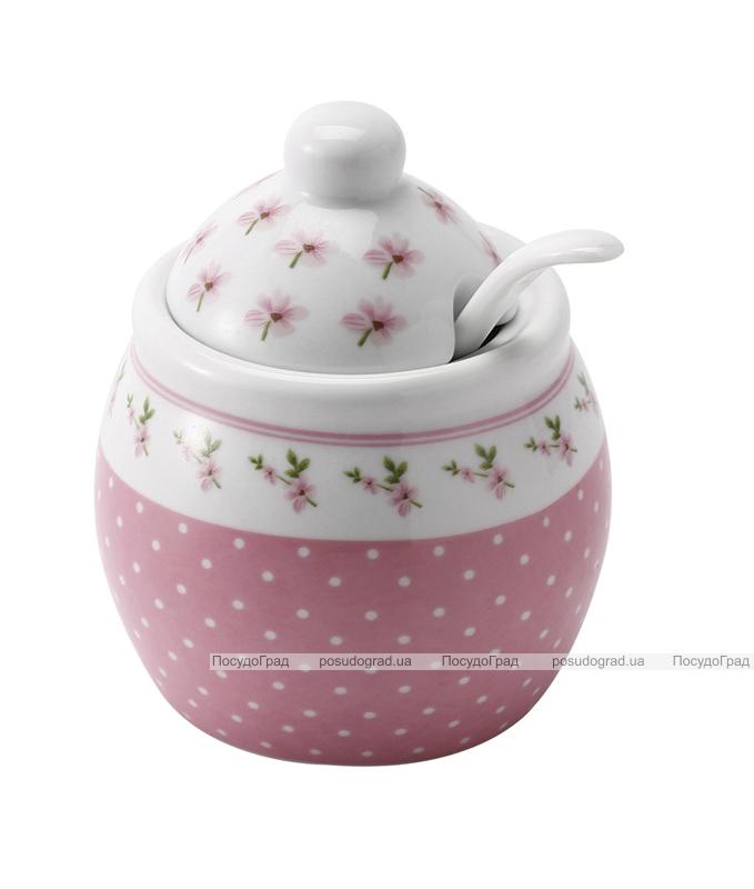 Сахарница Pink Grace с фарфоровой ложечкой