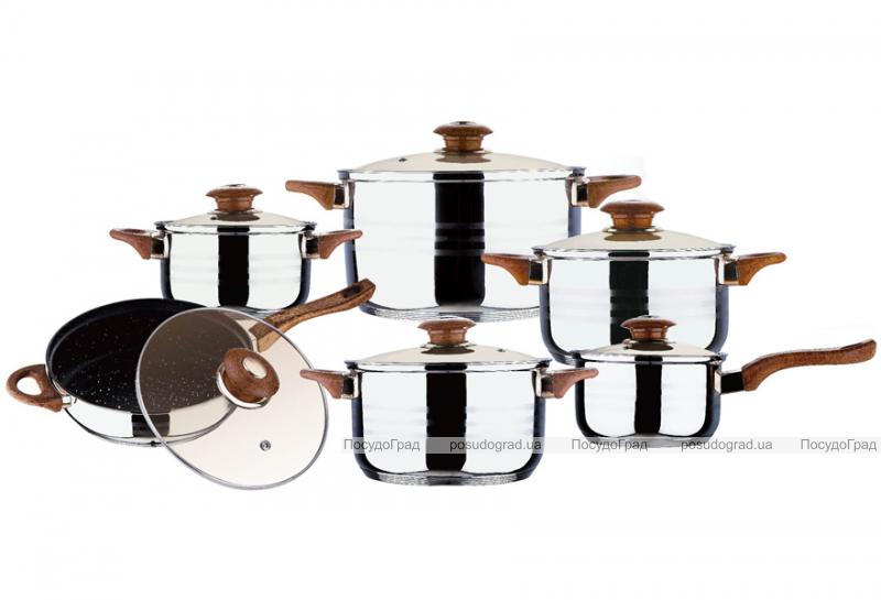 """Набор кухонной посуды Wellberg Big Cook Wood 12 предметов, сковорода с """"мраморным"""" покрытием"""