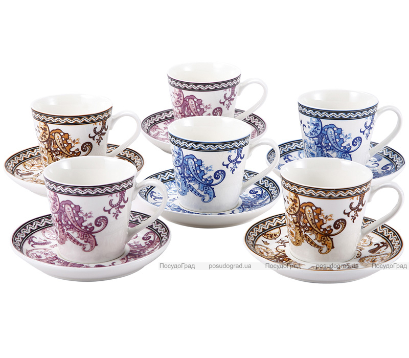 Чайный набор Wellberg Splendid 220мл 12 предметов, цветной орнамент