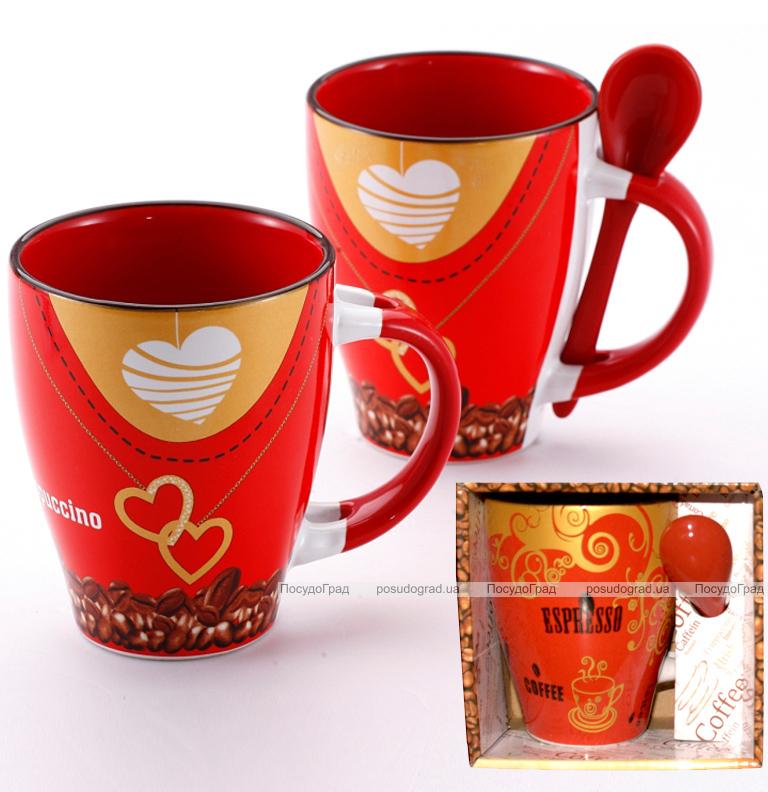 """Кружка Wellberg """"Hot Coffee Espresso"""" 320мл с керамической ложкой"""