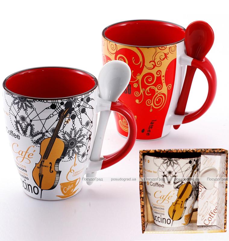 "Кружка Wellberg ""Hot Coffee Cappuccino"" 320мл с керамической ложкой"
