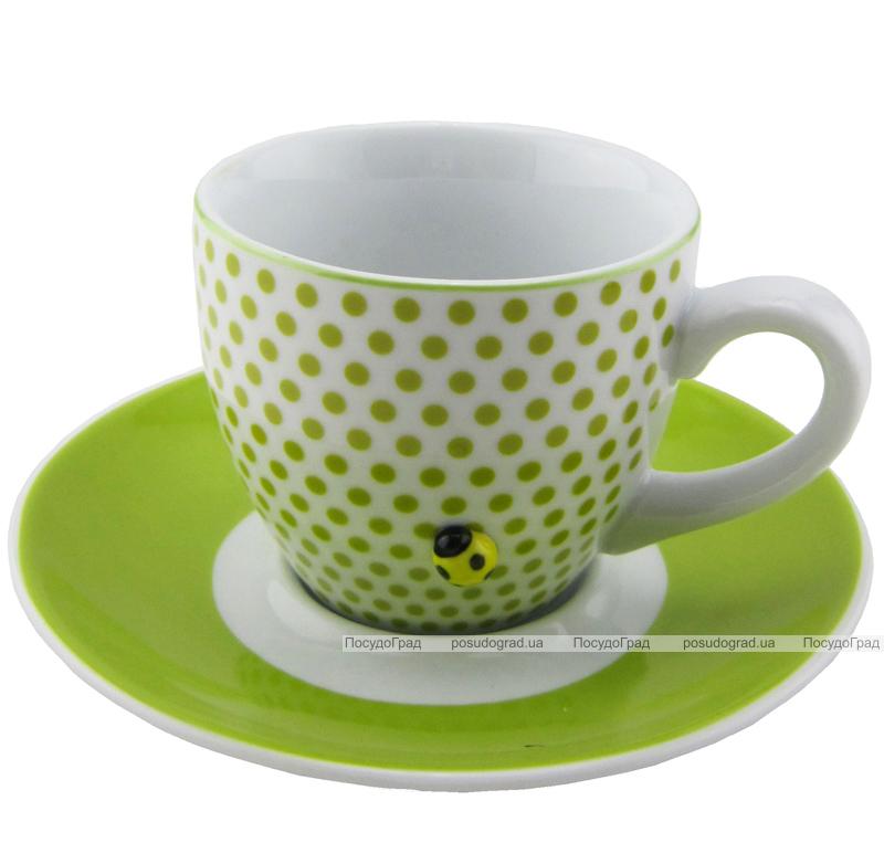 Чайная пара Wellberg Butterflies 220мл 2 предмета, зеленый