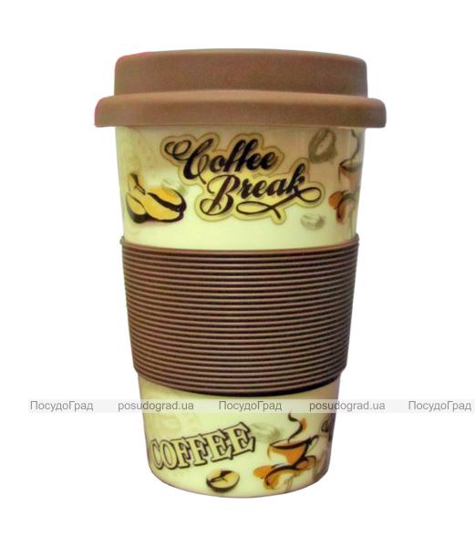 Кружка Ethnique Coffee Break 330мл с силиконовой вставкой и крышкой