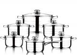 Набор посуды Wellberg Practical Silver 5 кастрюль и ковшик с крышками
