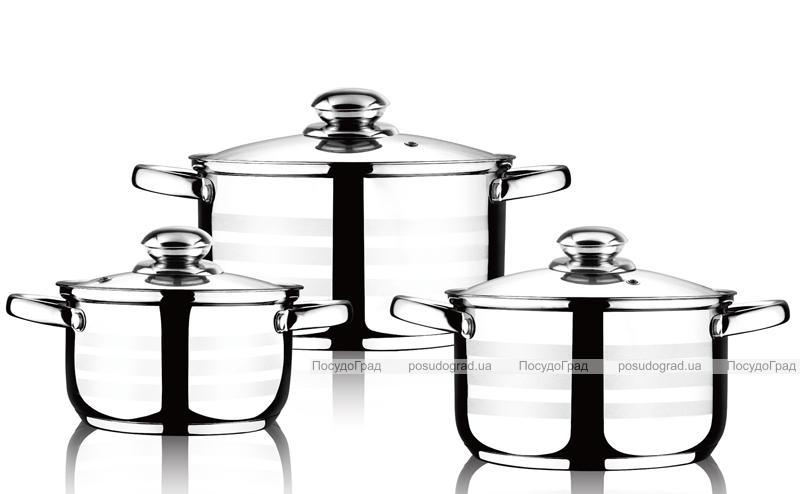 Набор кастрюль Wellberg Practical Silver 3 кастрюли 1.8л, 2.5л, 3.5л
