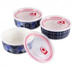Набор 3 фарфоровые миски для продуктов Sempre 250, 500 и 950мл с вакуумными крышками