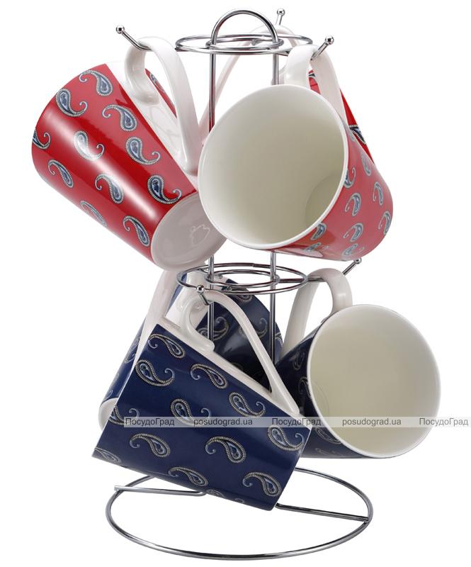 Набор кружек Pascal 320мл 7 предметов на хромированной подставке 706