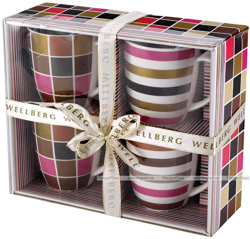 Набор 4 кружки Wellberg Beatrice Elegans 360мл, фарфор в подарочной коробке