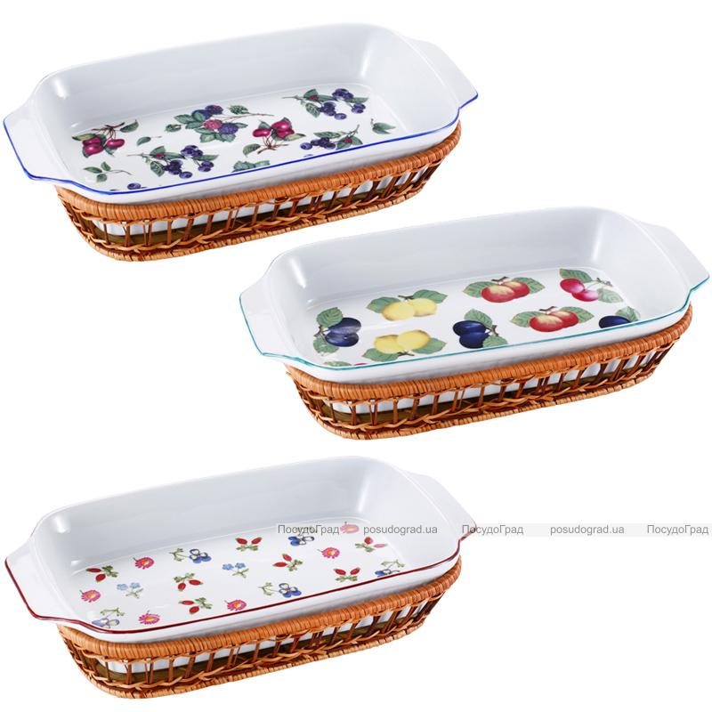 Форма для выпечки 2л (блюдо сервировочное) Wellberg в плетенной корзине