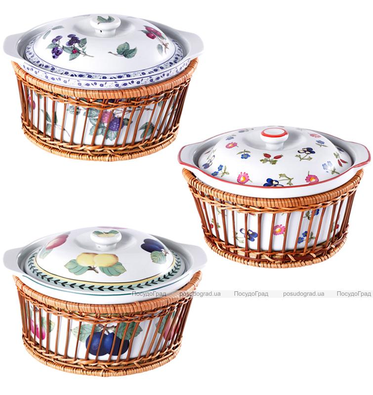 Форма для выпечки (кастрюля) 2,5л Wellberg с крышкой в плетенной корзине