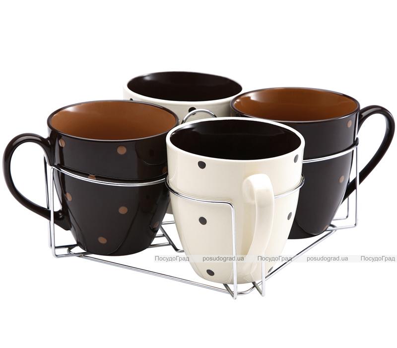 Набор кружек Wellberg O'Diva 580мл 5 предметов на хромированной подставке
