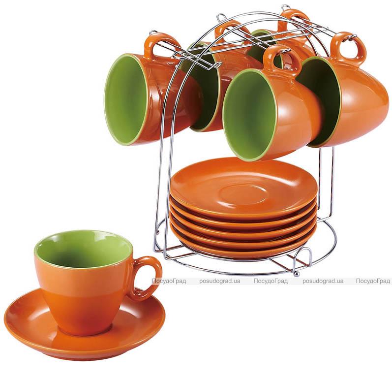 Чайный набор Wellberg Colore оранжевый 220мл 13 предметов на подставке