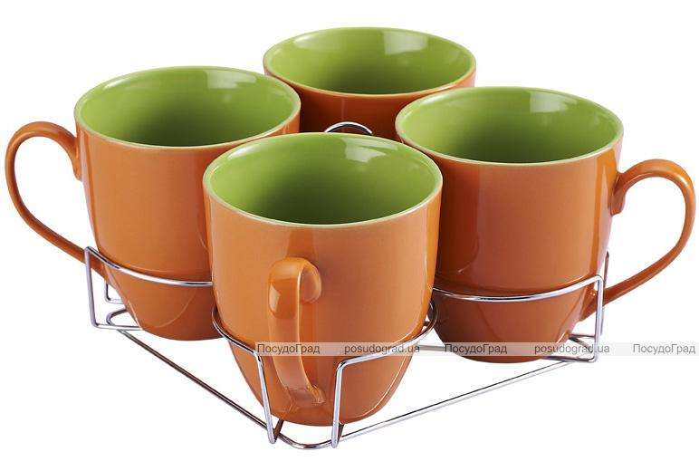 Набор кружек Wellberg Colore оранжевый 580мл на подставке
