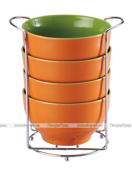 Набор пиал Wellberg Colore оранжевый 680мл на подставке
