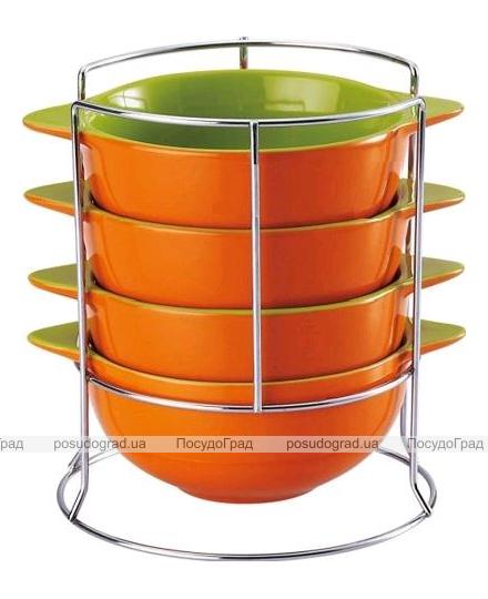 Набор мисок Wellberg Colore 500мл оранжевый на подставке