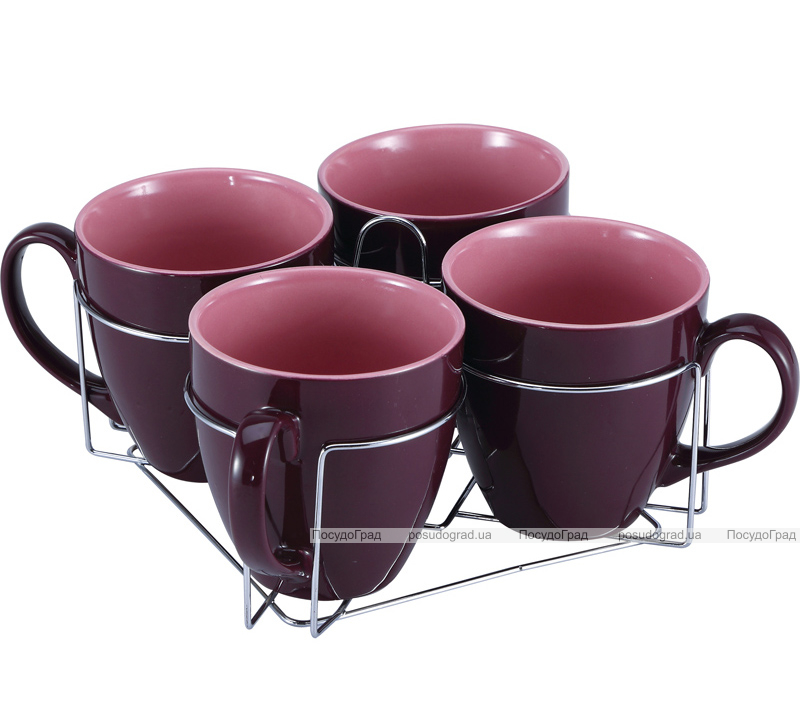 Набор кружек Wellberg Colore пурпурные 580мл на подставке