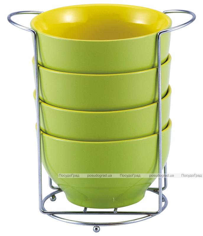 Набор пиал Wellberg Colore 680мл зеленые, на подставке
