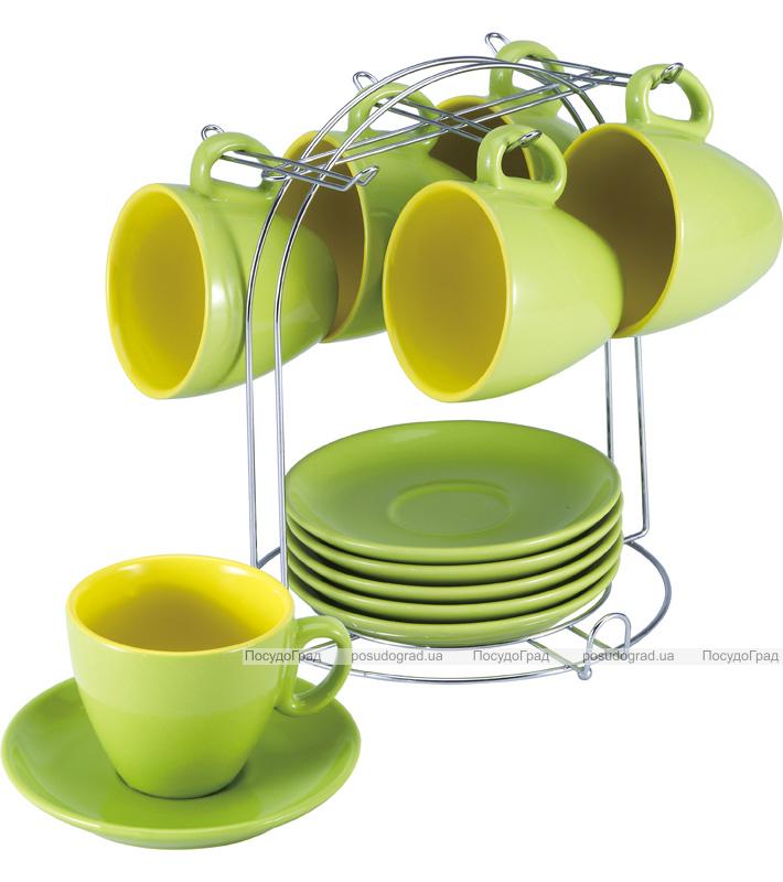 Чайный набор Wellberg Colore 220мл 12 предметов на металлической подставке
