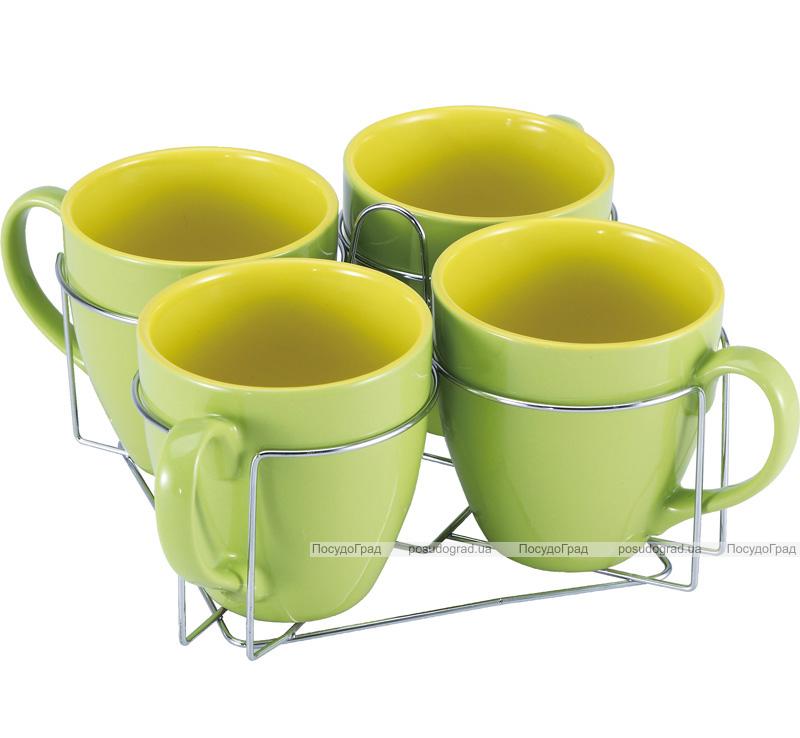Набор кружек Wellberg Colore зеленые 580мл на подставке