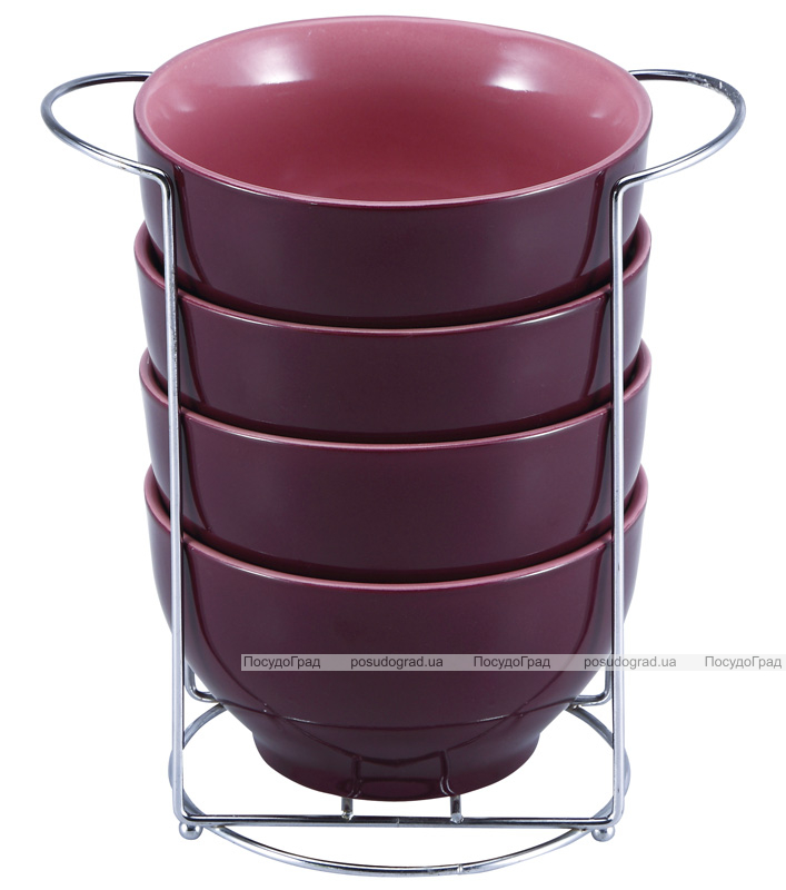 Набор пиал Wellberg Colore 680мл пурпурные, на подставке