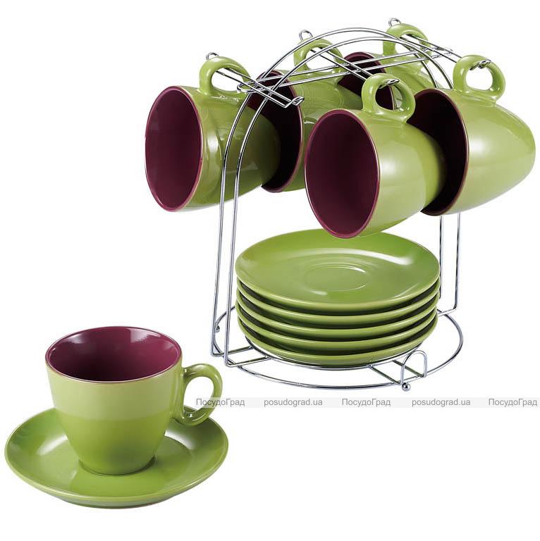 Чайный набор Wellberg Colore зеленый 220мл 13 предметов на подставке