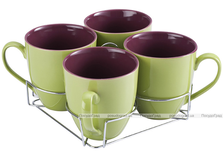Набор кружек Wellberg Colore зеленый 580мл на подставке