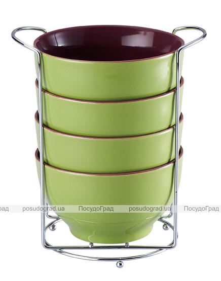 Набор пиал Wellberg Colore зеленый 680мл на подставке