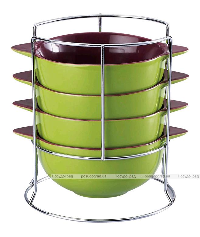 Набор мисок Wellberg Colore 500мл зеленый на подставке