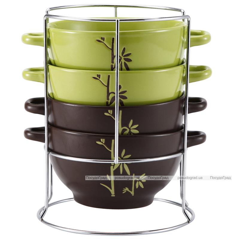 Набор суповых мисок Wellberg Bamboo 680мл 4 миски с ручками и подставка